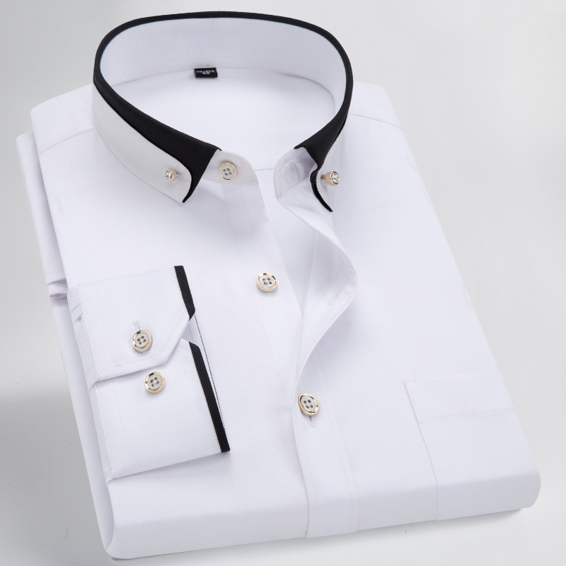 Fall 2019 New Men Tie Clasp Double Collar Cultivate One's Morality Men's Shirts Wash And Wear Nylon Shirts