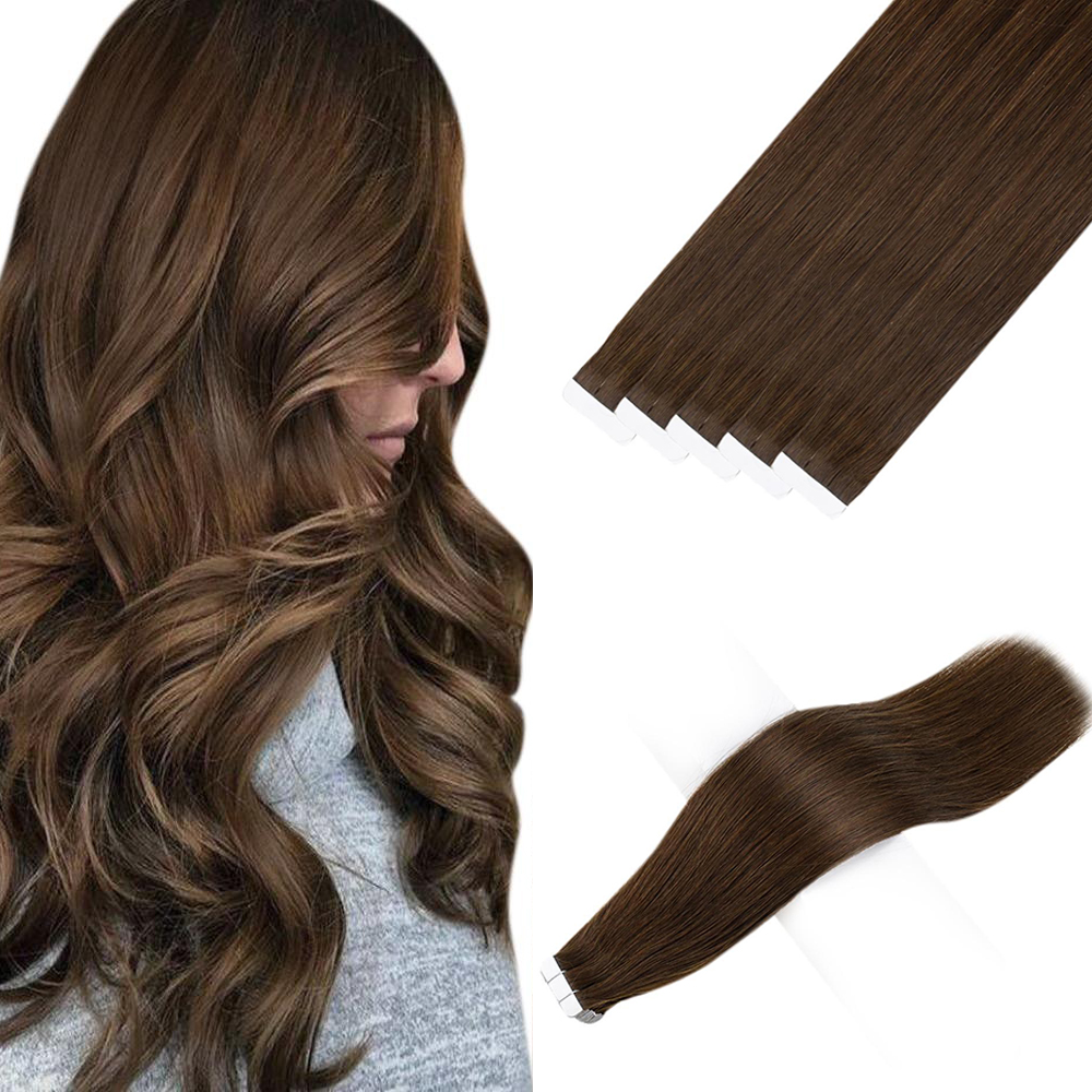 Ugeat fita em extensões de cabelo remy brasileiro extensões de cabelo humano cor marrom #4 extensões de fita real do cabelo humano 2.5 g/peças