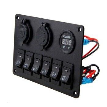 цена на 12V 6 Buttons Waterproof Car Auto Boat Marine LED Rocker Switch Panel Circuit Breakers For Boat Rocker Switch Control Panel