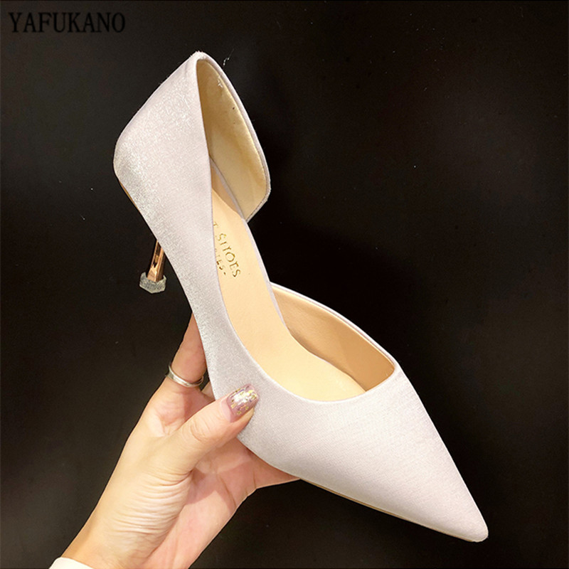 Temperament Silk Satin Women Pumps Sexy Side Hollow Thin Heels Single Shoes Black Career Office Shoes Elegant Party Dress Shoes