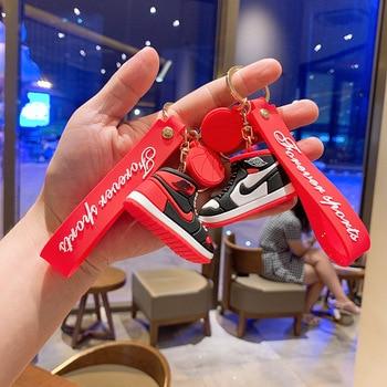 Fashion Mini 3D Sports Shoes Keychain Creative AJ Basketball Shoes Model Key Chain Pendant Men and W