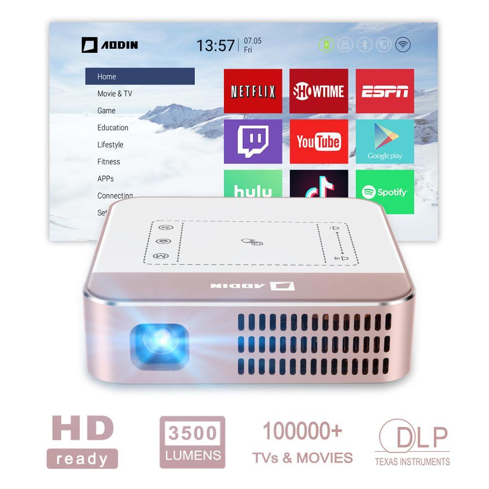 Projecteur vidéo intelligent HD AODIN WOW 3500 lumens WIFI, mini projecteur TV DLP LED Portable, prise en charge 4 K, flux 100000 + TV et films