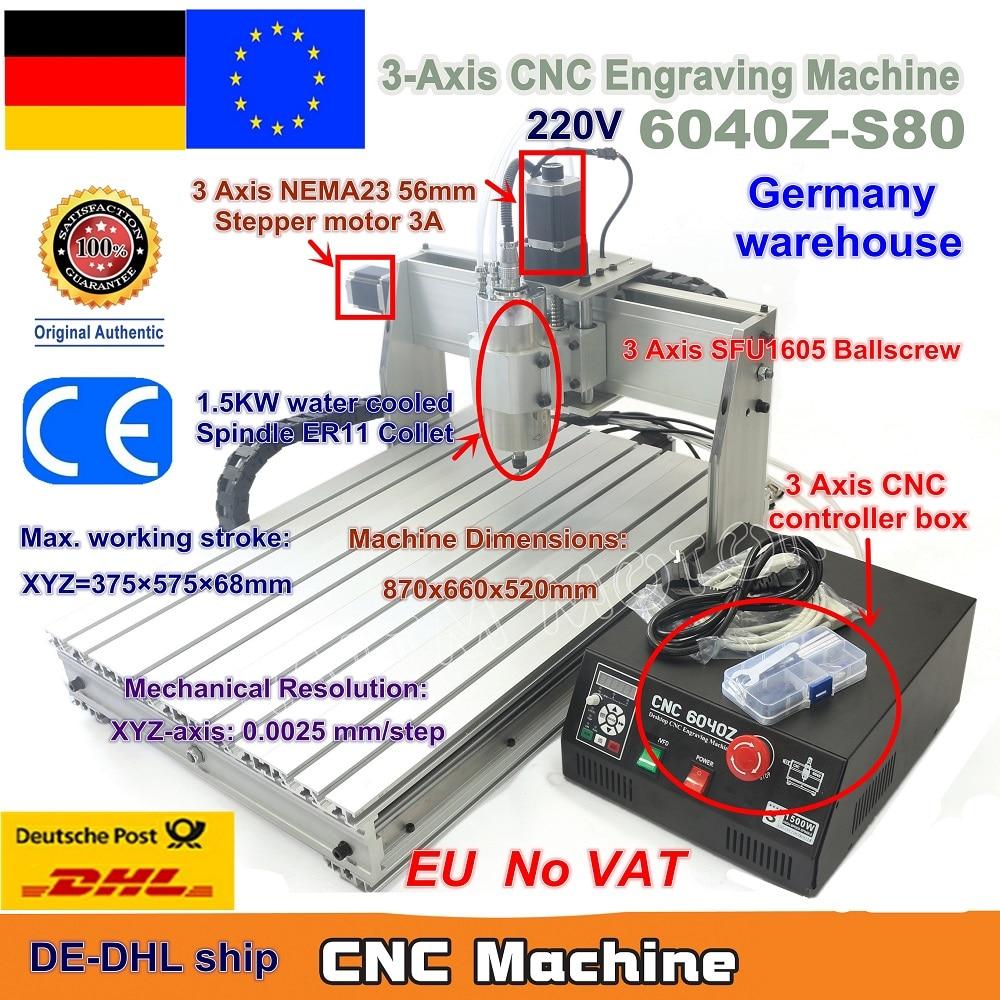【DE VAT】 3 axes Mach3 6040 Z-S80 1500W 1.5KW broche moteur CNC routeur graveur gravure découpe fraiseuse 220VAC