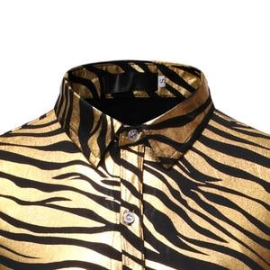 Image 3 - Mens 70s Metallic Gold Zebra Print Disco Shirt 2019 Brand New Slim Fit Long Sleeve Mens Dress Shirts Party Prom Stage Chemise