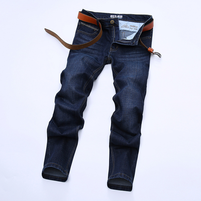 After Bag And Leather MEN'S Jeans Autumn And Winter Dark Blue Elasticity Pencil Pants Slim Fit Men's Trousers High Quality Busin