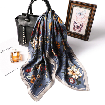 designer brand women scarf fashion 2020 flower print silk scarves square small Handkerchief office neck hair scarfs 70*70cm - discount item  33% OFF Scarves & Wraps