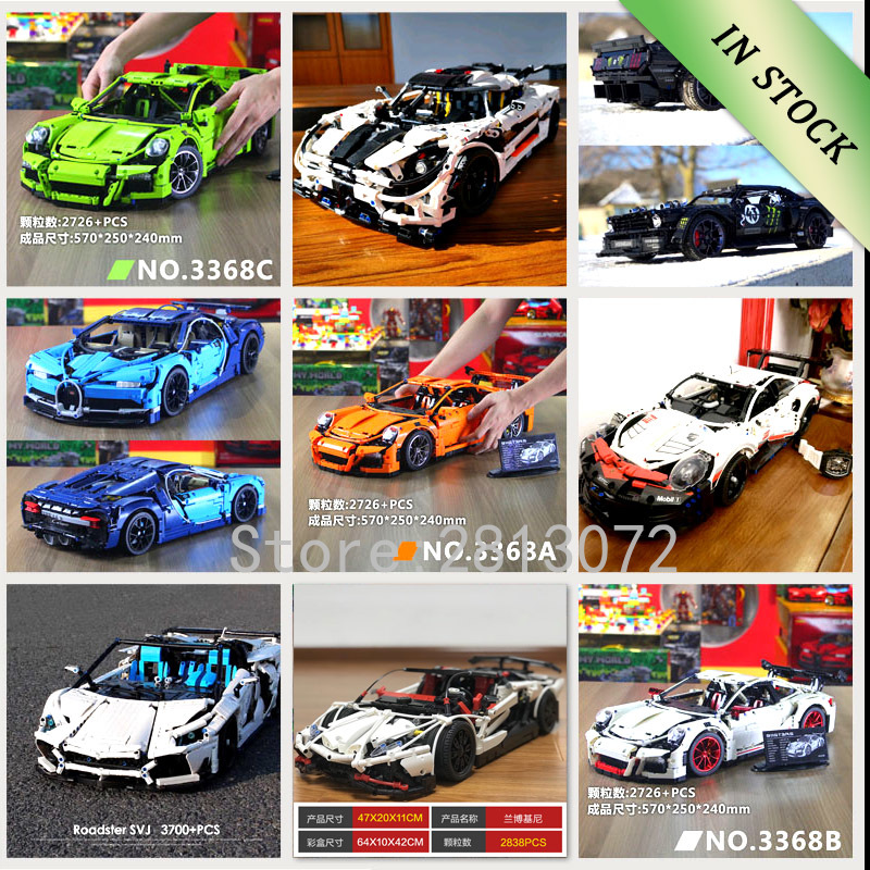 In Stock Super Sports Racing Car Model 20001 <font><b>23002</b></font> 23006 20086 17698 21047 Compatible with 42056 42083 20097 LZ2101 10265 image