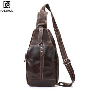 F.N.JACK Business Men's Chest Bag locomotive Men's Head Layer Leather Small Messenger Bag Oil Wax Leather Waist Bag 2019