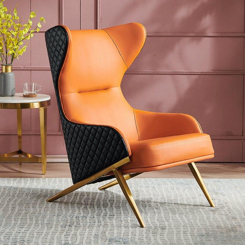 Nordic Light Luxury Leather Single Sofa Chair Living Room Fabric Sofa Single Chair High Back Chair Tiger Chair