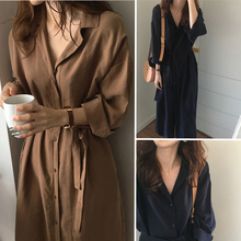 2020 Fashion Trench Coat For Women Silm Loose Lapel Over The Knee Trench Coat Ladies Sunscreen Trench Coat Clothing For Women cheap Full Broadcloth Casual Polyester COTTON Button Solid Long Turn-down Collar Single Breasted Wide-waisted Thin coat