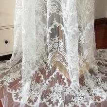 1 Yard Exquisite off white clear sequin necklace floral embroidery lace fabric bridal gown wedding dress 140cm wide