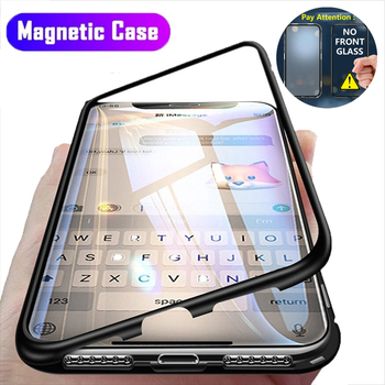 Magnetic Adsorption Metal Case For iPhone SE 2020 11 Pro Max Tempered Glass Back Case For iPhone XS Max XR X 8 7 6S 6 Plus Cover