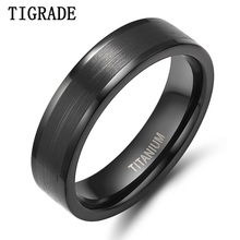 цена Brand 6mm Black Titanium Ring Men Wedding Band Silver Edges Engagement Rings For Women Fashion Female Finger Jewelry Comfort Fit онлайн в 2017 году