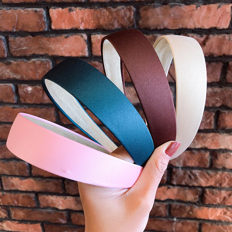1PC Plastic Fashion Canvas Wide Headband Hair Band Headwear Bezel Hair Accessories For Woman Satin Covered Resin Hairbands