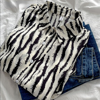 Kimotimo bluza z nadrukiem damska bluzki koreański Fashion skręcić w dół kołnierz koszule damskie 2021 jesień nowa koszula z guzikami z długimi rękawami tanie i dobre opinie CN (pochodzenie) POLIESTER long NONE Cienki Sukno Na wiosnę jesień Proste Drukuj WOMEN vintage Wykładany kołnierzyk