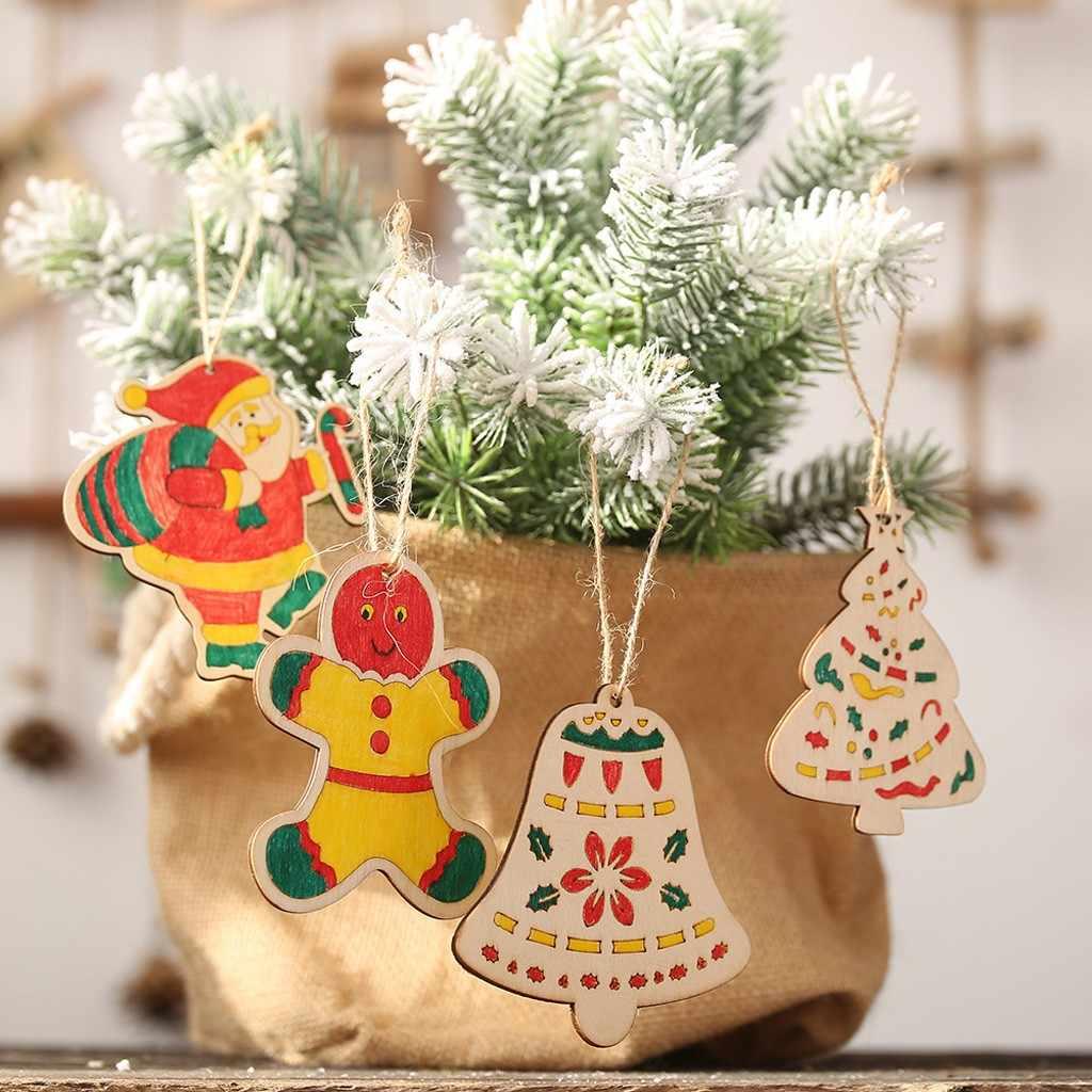 2019 Dekorasi Natal Untuk Rumah Kayu Liontin Mewarnai Anak Anak Papan Warna Lukisan Pohon Natal Liontin