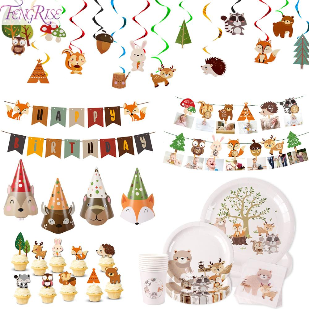 FENGRISE Forest Animals Paper Plate Hat Woodland Party Birthday Party Decorations Kids Baby Shower Safari Jungle Party Supplies