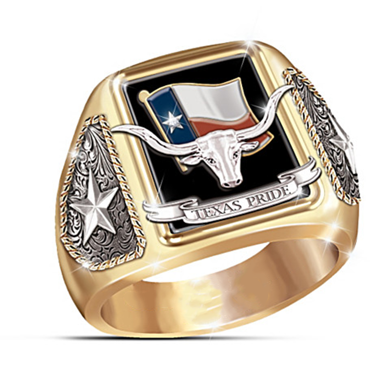 Luxury Chief Bull Head Men's Ring Indian Chile High Grade Gold Color Bull Star Championship Rings Male Jewelry