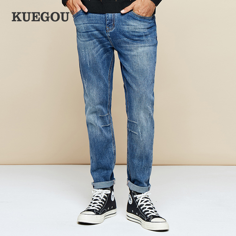 KUEGOU 2019 Autumn Cotton Blue Distressed Skinny Jeans Men Streetwear Brand Slim Fit Denim Pants For Male Stretch Trousers 2983