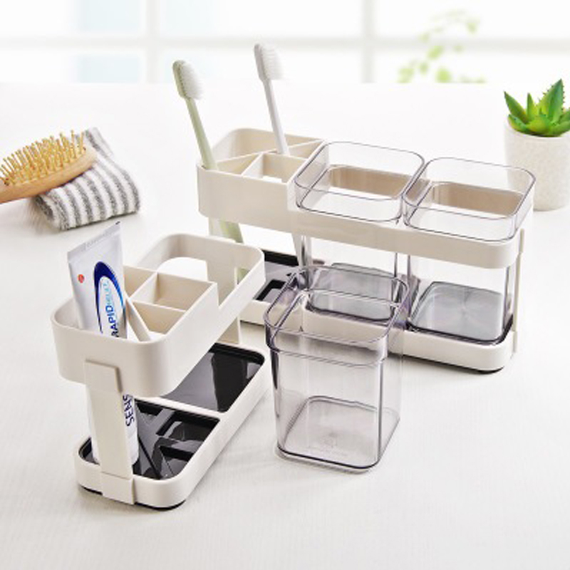 1set Nordic Style White Mouthwash Cup Toothbrush Holder Bathroom Accessories Toothpaste Toothbrush Organizer PP  Storage Rack