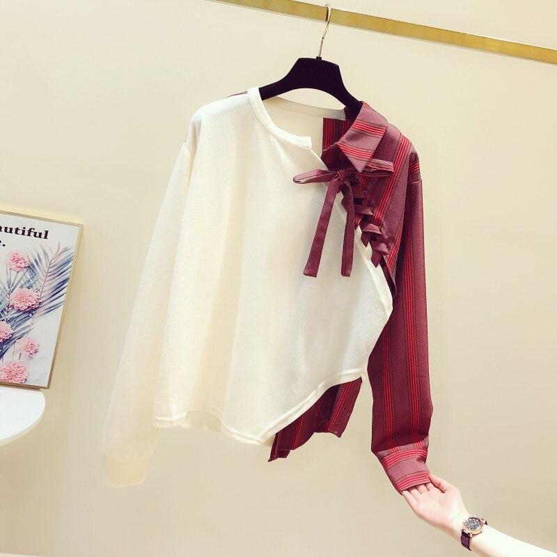Women 2020 Spring New Hit Color Striped Cotton Sweatshirt Female Crewneck Irregular Tops Ladies Bandage Sweats