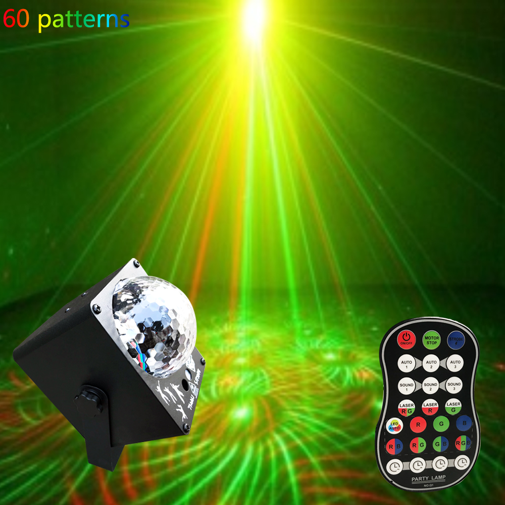 DJ Laser RGB Stage Light Projector LED Effect Lamp Disco Christmas Holiday Bar Lighting Party Indoor Lamp Remote