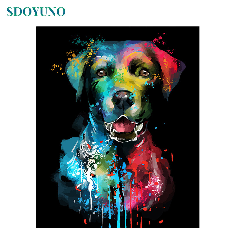 SDOYUNO 60x75cm Frameless Oil Acrylic Painting By Numbers Colourful Animals On Canvas Home Decoration Canvas Painting DIY