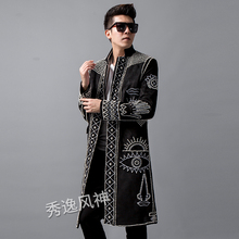 Autumn New Blazer Men Clothing Pearl Rivet Beaded Long Suit