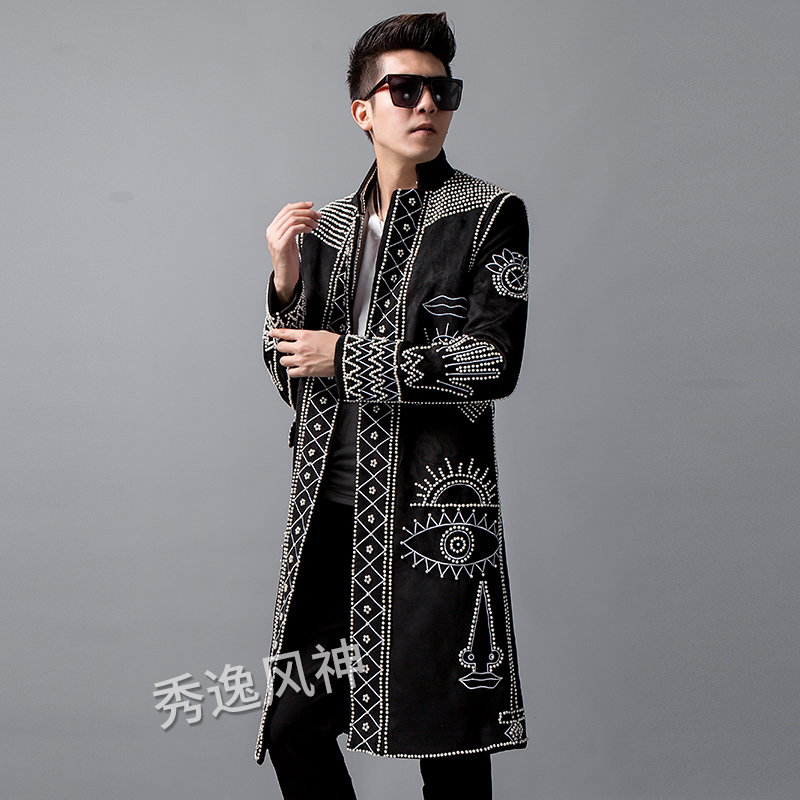 Autumn New Blazer Men Clothing Pearl Rivet Beaded Long Suit Trench Coat Embroidery Fashion Jacket Male Singer Stage Windbreaker