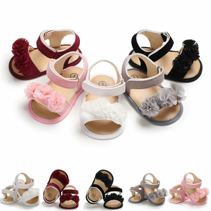 Newborn Kid Baby Girl Flower Sandals Summer Casual Crib Shoes First Prewalker 0-18M