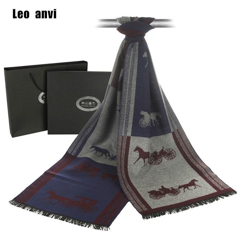 Leo Anvi Soft Warm Winter Scarf Business Casual Brand Designer Cashmere Scarf Men Horse Carriage Shawl Scarves Foulard Bufanda