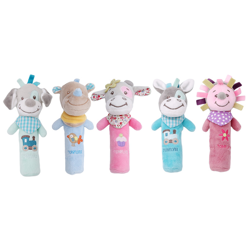 Hot Sale Baby Rattles Mobiles BB Sticks Soft Cow Plush Doll Crib Bed Hanging Hand Catches Animal Toy Doll Kids Toy SA979773