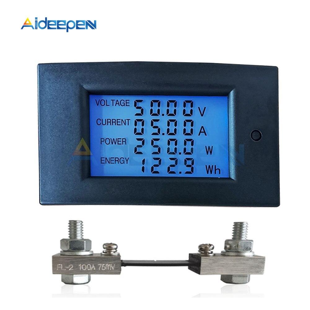 DC 7.5-100V 20A 50A 100A LCD affichage numérique courant tension puissance compteur dénergie multimètre ampèremètre voltmètre avec Shunt de courant