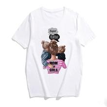 Super Mama Women's Fashion Short Sleeve Round Neck Mom and Girls Printing T-shirt Tops