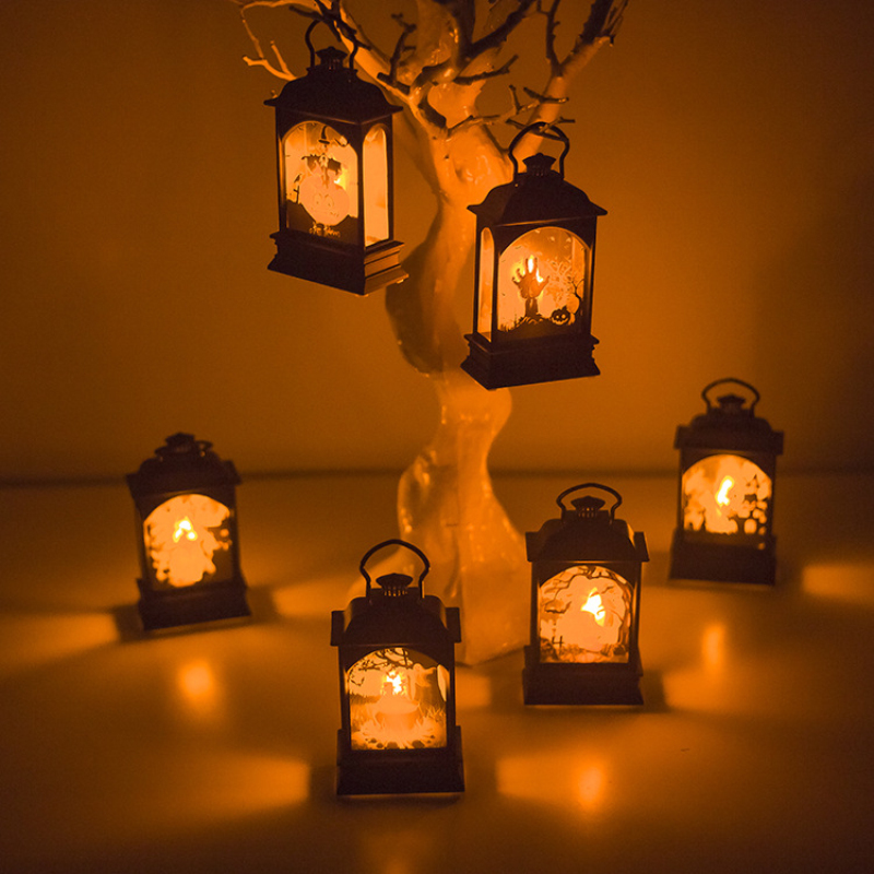 Halloween Hanging Lamp Vintage Pumpkin Witch Castle Light Lamp Party Hanging Halloween Bar Party Home Decor LED Lantern <font><b>Horror</b></font> image
