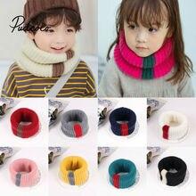 Брендовый вязаный шарф для девочек, плотный теплый зимний шарф с флисовой подкладкой, шерстяной эластичный Детский шарф с воротником