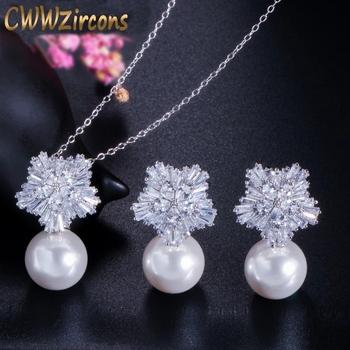 CWWZircons najwyższej jakości kolor srebrny AAA + kwiat z cyrkonią kobiety naszyjnik z dużymi perłami wisiorek i kolczyki komplety biżuterii T049 tanie i dobre opinie Miedzi CN (pochodzenie) Pearl Symulowane perłowej TRENDY Necklace Pendant and Earrings Naszyjnik kolczyki Moda Zestawy biżuterii