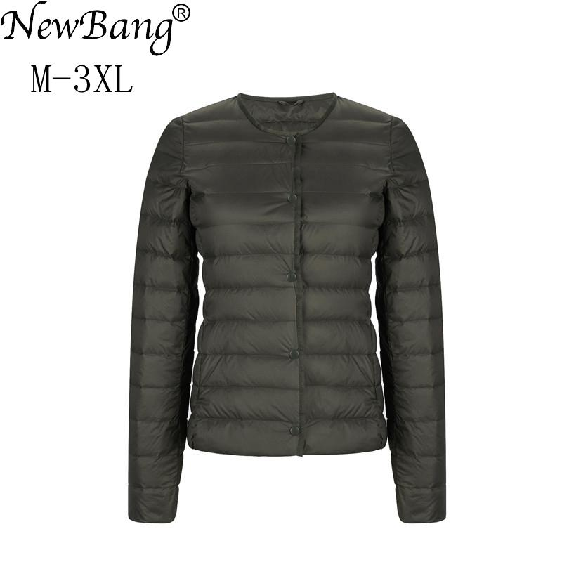 NewBang ультра легкий пуховик Женская матовая ткань легкая куртка женская тонкая ветровка без воротника легкое теплое пальто