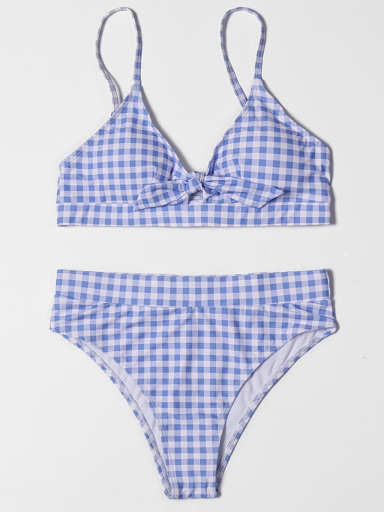 ZTVitality Bow Plaid Bikinis Push Up Sexy Bikini 2021 Hot Sale Straps Padded High Waist Swimsuit Retro Swimwear Women Biquini