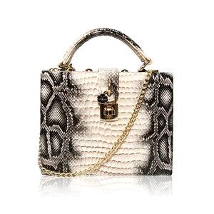 Image 2 - 뱀 인쇄 상자 핸드백 여자 사문석 잠금 작은 사각형 PU 저녁 클러치 숄더 가방 숙녀 저녁 파티 지갑 성격