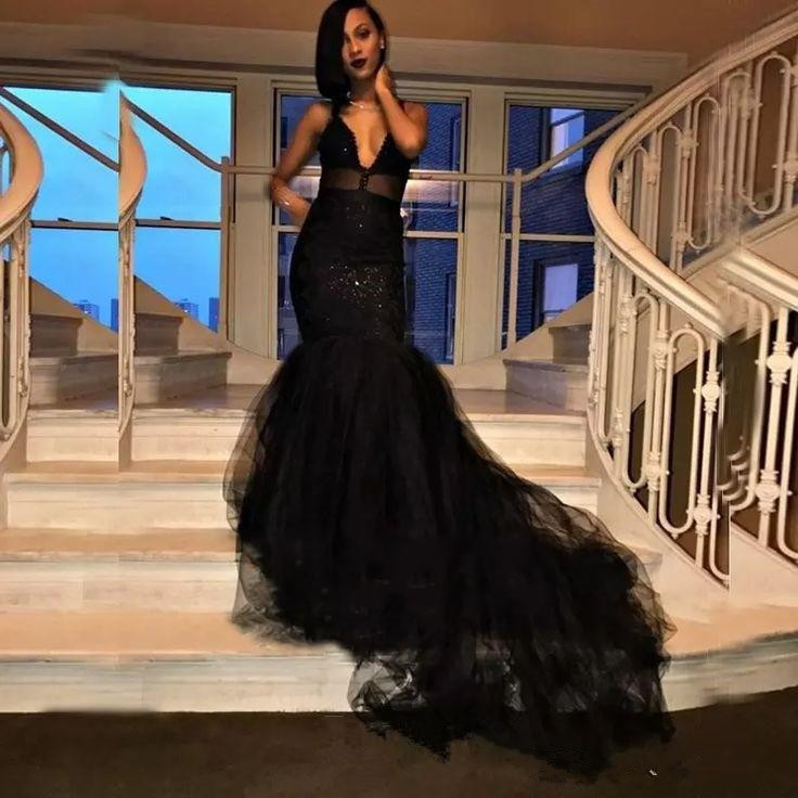 Black   Prom     Dress   2019 Mermaid Deep V-neck Tulle Beaded Sexy Long   Prom   Gown Evening   Dresses   Robe De Soiree