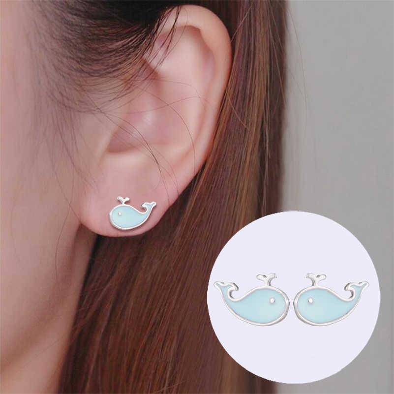 Jisensp Carino Earing Minimalista Balena Della Perla del Gatto Orecchini con perno per Le Donne pendientes Gioielli Coreano Orecchini Fiore di Partito Gif