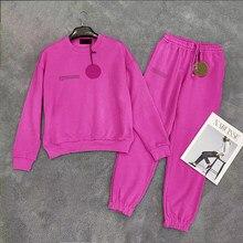 Stałe 100% bawełna zestaw dresowy dla mężczyzn dwuczęściowe stroje swetry typu oversize i spodnie dresowe Jogger dresy luźne