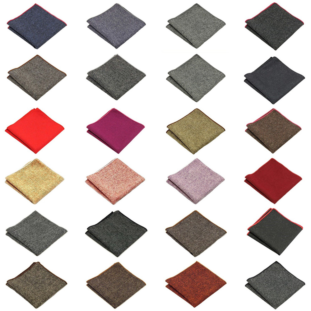 Mens Solid Color Wool Cotton Pocket Square Wedding Party Handkerchief Hanky