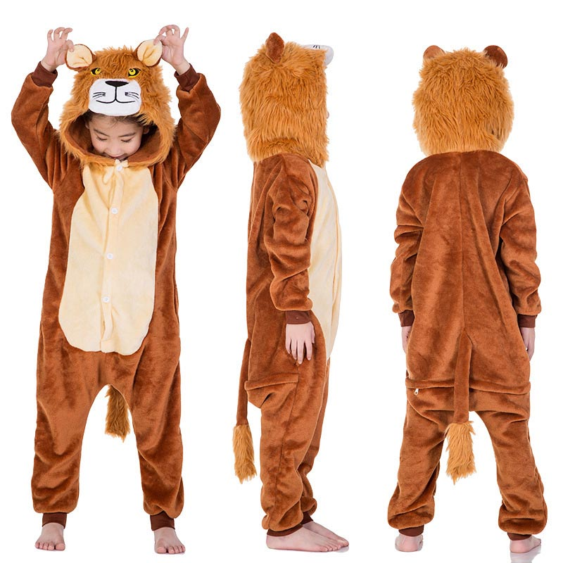 New Year Carnival Kigurumi Tiger Lion Costume Child Baby Hooded Onesie Children Flannel For Kids Boys Animal Pajamas Sleepwear