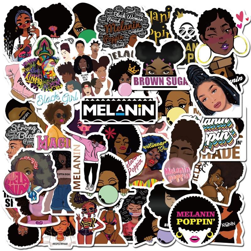 50pcs Pack Waterproof Fashion Inspirational Melanin Poppin Decor Fridge Sticker Laptop Skateboard Phone Sticker  LD