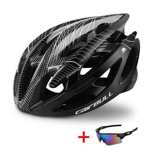 Capacete profissional de bicicleta de estrada e de montanha, capacete com óculos ultraleve dh mtb all-terrain esportes equitação ciclismo 2