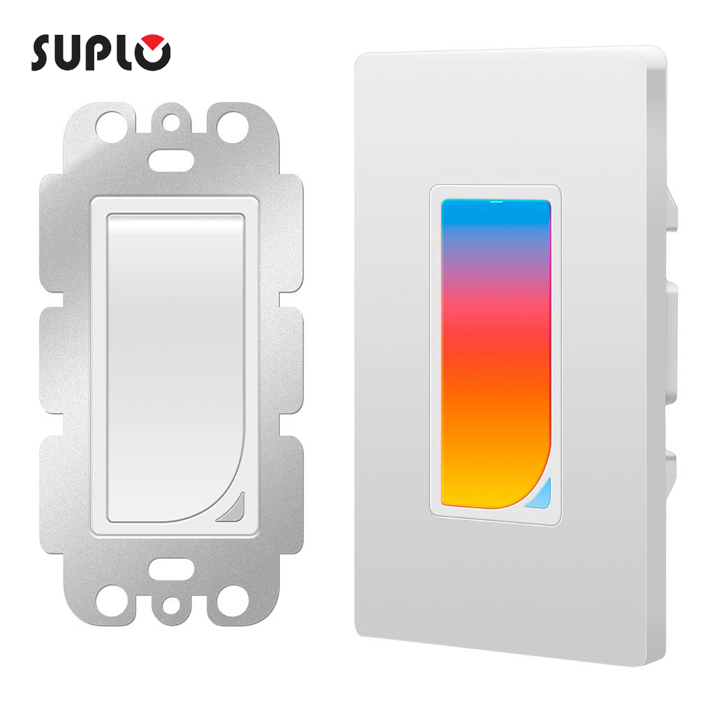 SUPLO US Wifi RGB LED Scene Light Smart Light Switch Wall Switch Wireless Smart Switch AC100-240V 1100W APP Control