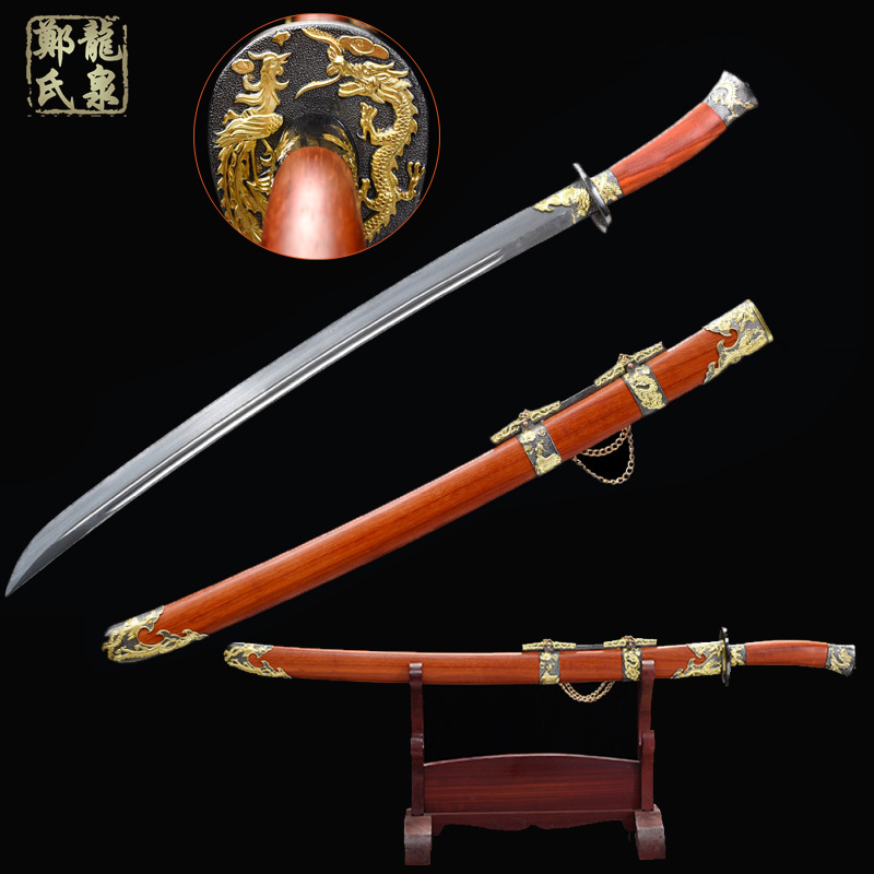 Real Chinese Sword Forged Damascus Steel Antique Qing Dao Red Rose Scabbard Handmade Full Blade-Sharp Swords
