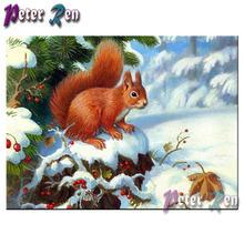 5d алмазная картина в виде белки на снегу вышивка diy квадратная/Круглая